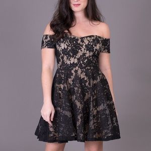 NWT Love Culture Nude/Black Lace Fit&Flare Dress
